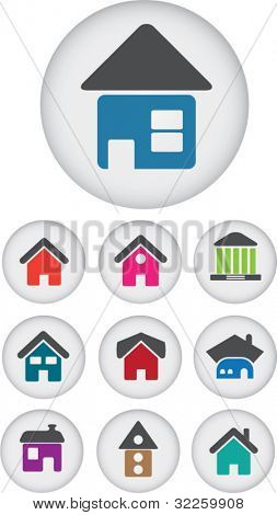 9 cute house buttons. vector. see more vector signs in my portfolio