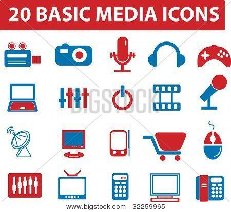 20 basic media icons. raster version.