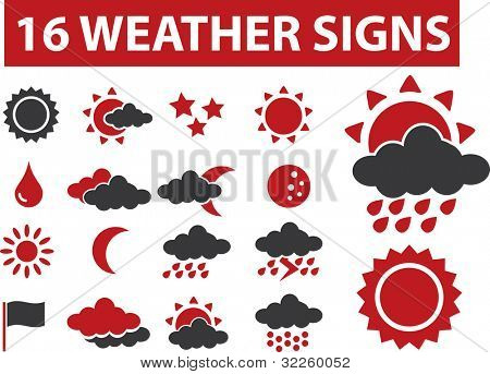 16 weather signs. raster version