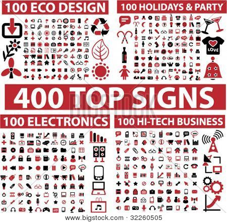 400 top signs. vector