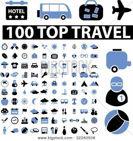 100 top travel signs. vector