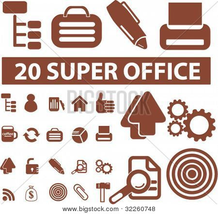 20 super office signs. vector