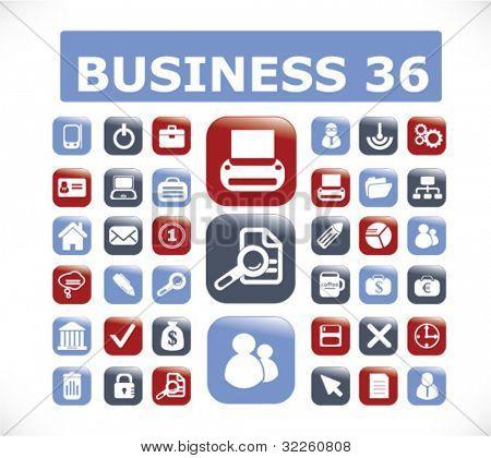 36 botones de negocios. Vector