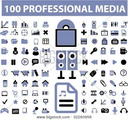 100 professional media signs. vector