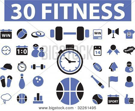 30 fitness icons, vector