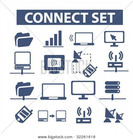 connect identity set icons, vector