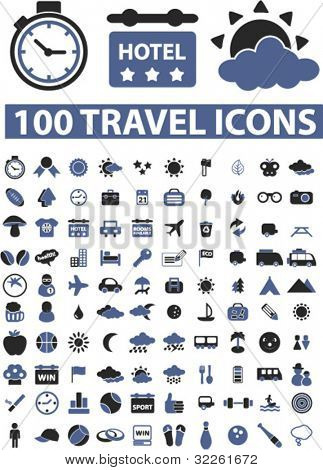 100 travel icons & signs, vector