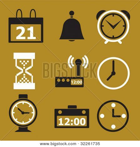 time & clock icons, signs, vector illustations