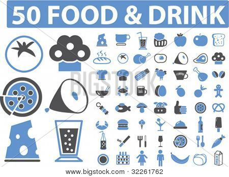 50 food & drink icons, signs, vector