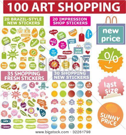 vector 100 Kunst einkaufen Aufkleber & Etiketten
