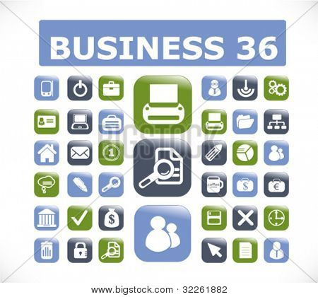 36 modern business glossy 3d buttons, vector