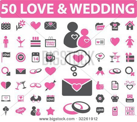 50 love & wedding icons, signs, vector illustrations
