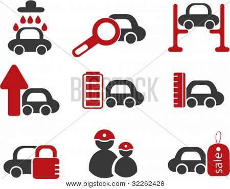 car & auto service icons, signs, vector illustrations