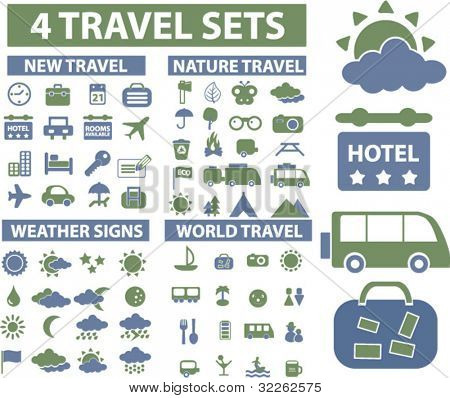 4 travel sets icons, signs, vector illustrations