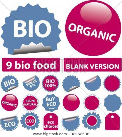 bio & organic stickers, vector