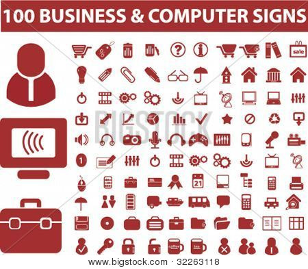 100 business & computer icons, signs, vector