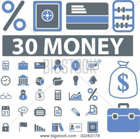 30 money signs, vector