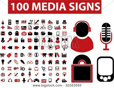 100 media signs, icons, vector