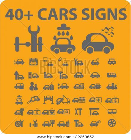 40+ cars icons, signs, vector illustrations
