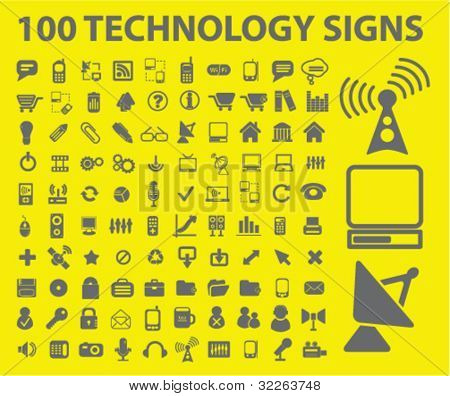 100 technology icons, signs, vector