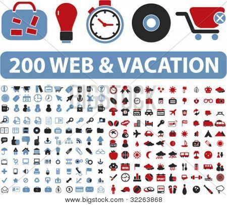 200 Web & Urlaub Symbole, Illustrationen, vector