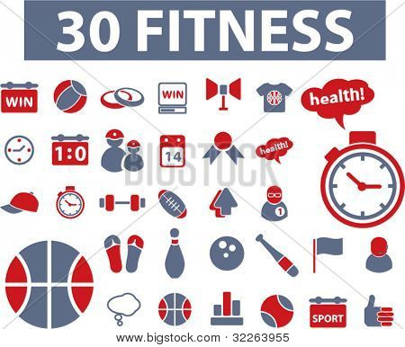 30 fitness icons, signs, vector illustrations