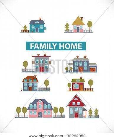 Familie Heim Symbole, Zeichen, Vektor Illustrationen