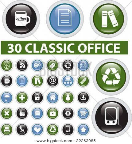 30 classic office glossy buttons, icons, signs, vector illustrations
