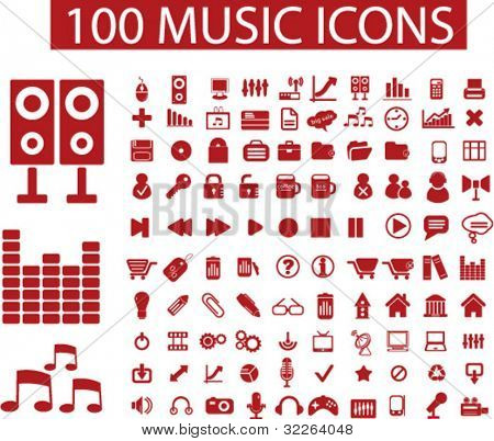 100 music icons, signs, vector illustrations