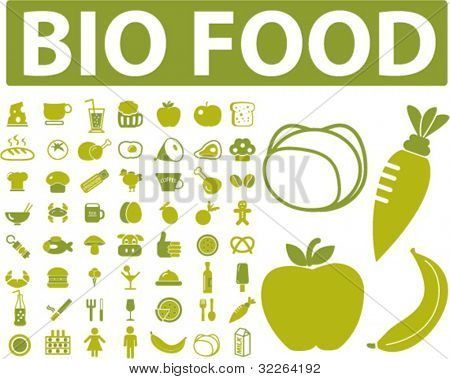 bio food, drink, vegetables, fruits, icons, signs, vector illustrations