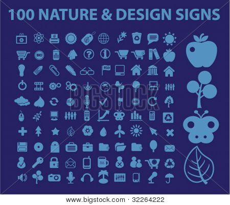 100 nature & design icons, signs, vector illustrations