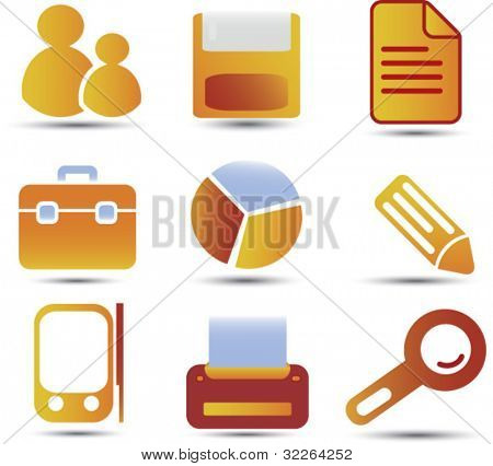 office icons, signs, vector