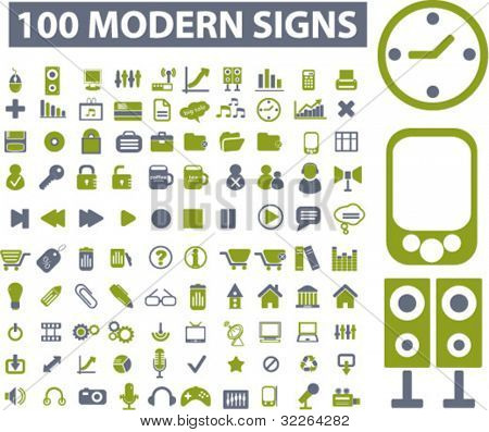 100 modern icons, signs, vector illustrations