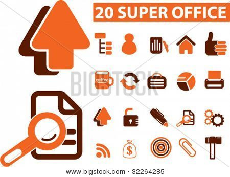 20 super office icons, signs, vector illustrations