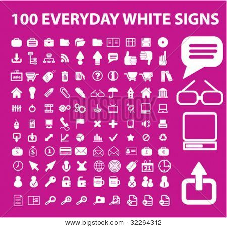 100 everyday white icons, signs, vector set