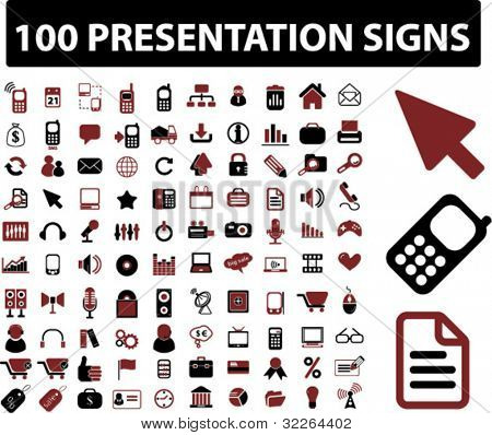 100 presentation icons, signs, vector illustrations