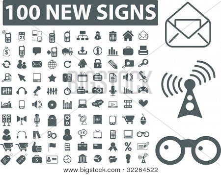 100 new business & office icons, signs, illustration, images, vector