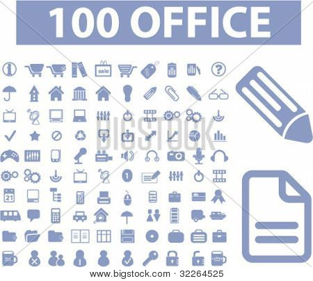 100 blue office icons, signs, illustration, images, vector