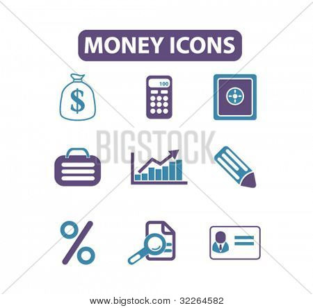 money icons, signs, vector illustrations