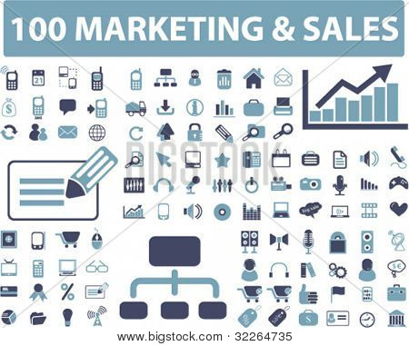 100 marketing & sales icons, signs, vector illustrations