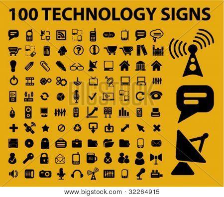 100 iconos de la tecnología, signos, ilustraciones de vectores
