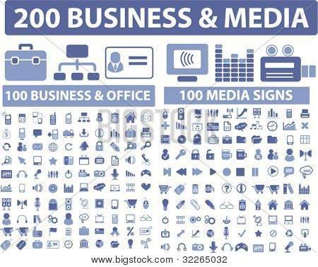 200 business & media icons, signs, vector illustrations