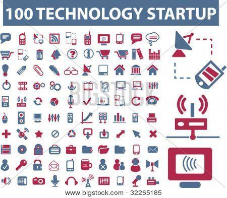 100 iconos de la tecnología, signos, vector conjunto de ilustraciones