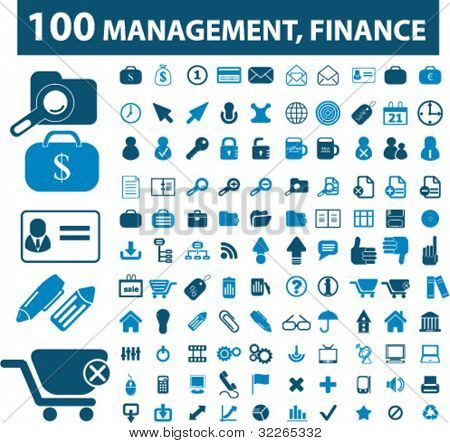 100 management, finance icons, signs, vector illustrations