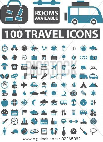 100 Reisen Symbole, Zeichen, vector Illustrationen set