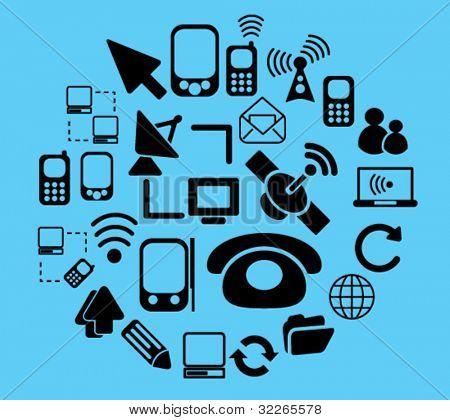 conexión & comunicación iconos, signos, vector conjunto de ilustraciones