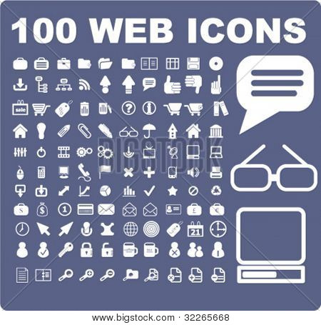 100 web icons set, signs, vector