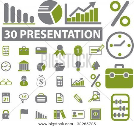 presentation icons set, vector illustrations