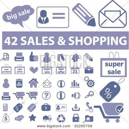 sales & shopping icons set, vector illustrations