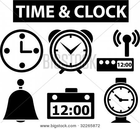 time & clock icons set, signs, vector illustration